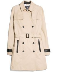 Mango Contrast Trim Trench Coat - Lyst