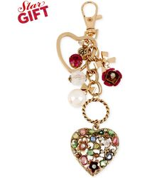 Betsey Johnson Gold-tone Multicolor Heart Charm Key Chain - Lyst