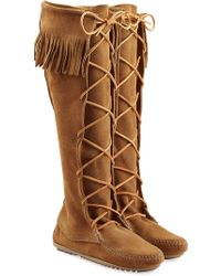 Minnetonka | Fringed Suede Knee Boots With Lace-up Front - Brown | Lyst