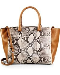 Prada Small Python & Calfskin Topstitched Twin-Pocket Tote - Lyst