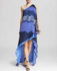 Halston Heritage Dress - One Shoulder Drape Print - Lyst