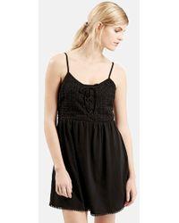 Topshop Crochet Lace-Up Sundress - Lyst