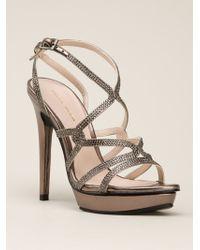 Pelle Moda Silver Farah Sandals - Lyst