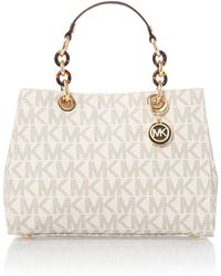 Michael Kors Cynthia Natural Logo Tote Bag - Lyst
