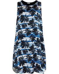 L'Agence Palm-Tree Cotton-Blend Dress blue - Lyst
