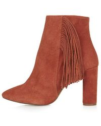 Topshop Muskat Fringe Ankle Boots - Lyst