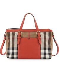Burberry Canvas-Check Mini Tote Bag - Lyst