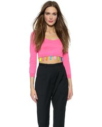Moschino Cropped Sweater - Pink - Lyst