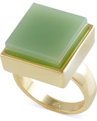 French Connection Gold-Tone Semiprecious Square Stone Cocktail Ring - Lyst