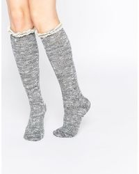 ABS By Allen Schwartz - Abs Knee Boot Socks In Crochet Lace - Lyst