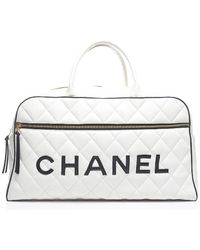 Chanel Pre-owned White Lambskin Xl Bowler Bag - Lyst