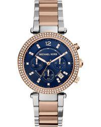 Michael Kors Women'S Chronograph Parker Two-Tone Stainless Steel Bracelet Watch 39Mm Mk6141 - Lyst