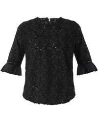 Vanessa Bruno Athé Bibiane Embroidered Voile Top - Lyst