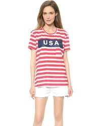 Textile Elizabeth And James Usa Wide Stripe Bowery Tee Whiteredblue - Lyst