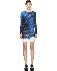 Stella McCartney Blue and White Tie Die Print Dress - Lyst