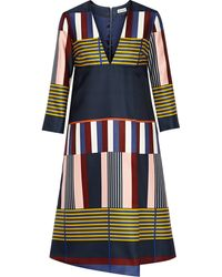 Suno Printed Silksatin Wrapeffect Dress - Lyst
