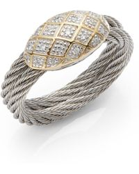 Charriol - Celtic Classique Diamond 18k Yellow Gold Stainless Steel Cable Ring - Lyst