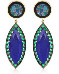 Andrea Fohrman Unique Round Mosaic Opal Lapis Marquis with Emeralds Earrings - Lyst