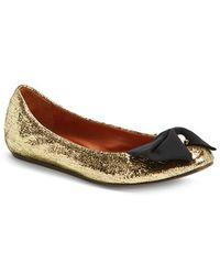 Lanvin Bow Ballerina Leather Flat - Lyst