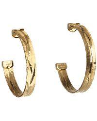 Roberto Coin Diamond Cut Hoop Earrings - Lyst