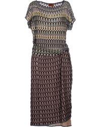 Missoni Knee-Length Dress brown - Lyst