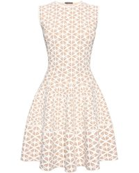 Alexander McQueen Embossed Cut Out Flower Jacquard 1/2 Circle Mini Dress - Lyst