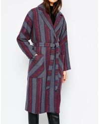 Helene Berman | Grey Burgundy & Blue Stripe Oversized Edge To Edge Coat | Lyst