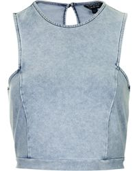 Topshop Denim Cutaway Crop Top - Lyst