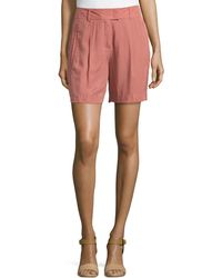 ESCADA - Pleated-front Woven Shorts - Lyst