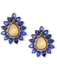 Siena Jewelry - Opal & Sapphire Flower Earrings W/diamonds - Lyst