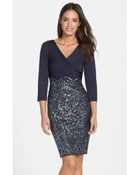 Kay Unger Sequin Jersey Sheath Dress - Lyst