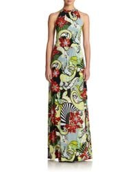 Etro Floral Jersey Halter Gown multicolor - Lyst