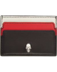Alexander McQueen Black Tri_Colour Skull Button Card Holder - Lyst