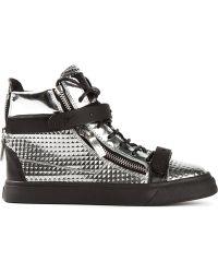 Giuseppe Zanotti Silver Hitop Sneakers - Lyst