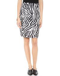Rodarte Printed Silk Pencil Skirt Zebra - Lyst