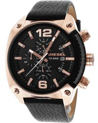 Diesel Mens Overflow Chronograph Black Genuine Leather and Dial - Lyst