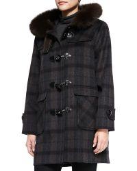 Sofia Cashmere Plaid Coat W/ Fur-Trimmed Hood black - Lyst