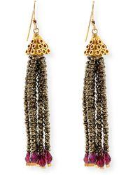 Dina Mackney - Pyrite And Garnet Fringe Earrings - Lyst
