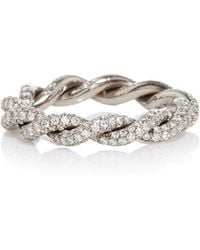 Gioia - 18k Blackened Gold Intertwined Love Rings With Diamonds - Lyst