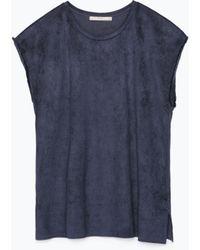 Zara Fringed Sleeve Faux Suede T-Shirt - Lyst