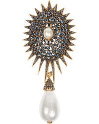 Oscar de la Renta Goldplated Crystal and Faux Pearl Brooch - Lyst