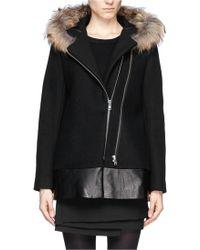 Sandro Raccoon Fur Collar Leather Panel Wool Coat - Lyst