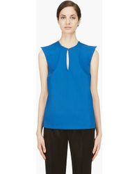 Mugler Blue Wool Peaked Shoulder Blouse - Lyst