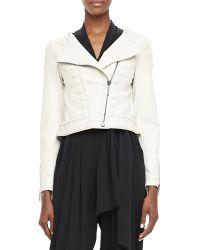 Catherine Malandrino Cadi Cropped Leather Jacket - Lyst