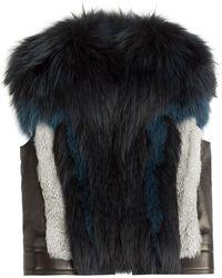 Roberto Cavalli Leather Vest With Fox Fur - Lyst