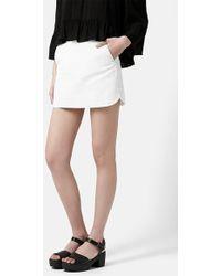 Topshop Curved Hem Miniskirt - Lyst