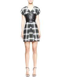 McQ by Alexander McQueen Cap-sleeve Tartan Corset Dress - Lyst