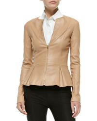 The Row Front-zip Leather Peplum Jacket - Lyst