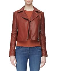 J Brand Aiah Zipfront Leather Jacket - Lyst