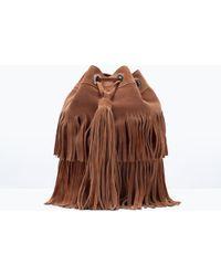 Zara Fringed Suede Bucket Bag - Lyst